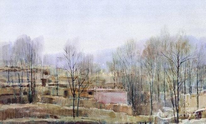村庄风景水彩画图片系列:枯树草屋图