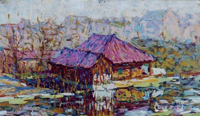 乡村建筑风景水粉画图片:农村房屋建筑