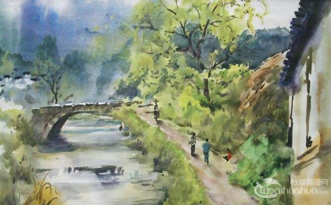 乡村风景水粉画图片:小桥流水水粉写生作品