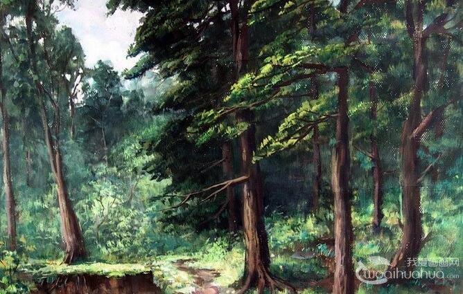 风景水粉画:乡村的田间(林间)小路水粉画图片