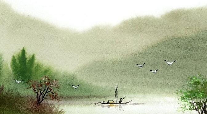 诗意朦胧写意水彩画:江南水乡风情水彩画欣赏