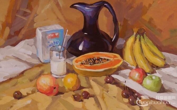 暖色调水果为主的水粉静物图片作品(9P)