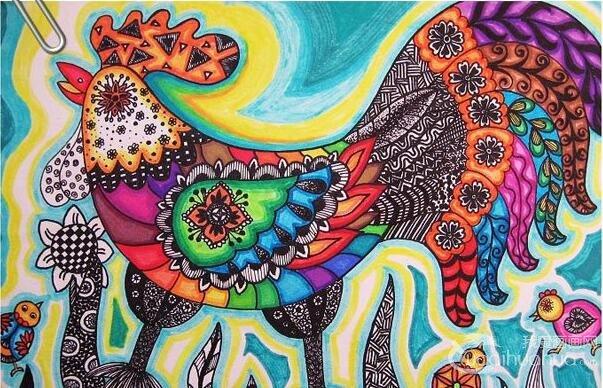 一副值得收藏的大公鸡线描彩色儿童画