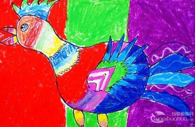 美丽的花公鸡:幼儿园小朋友7副大公鸡儿童画
