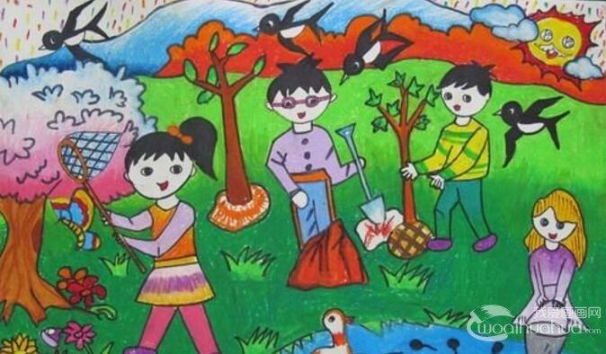 有关燕子、春天、绿草地的儿童画图片作品