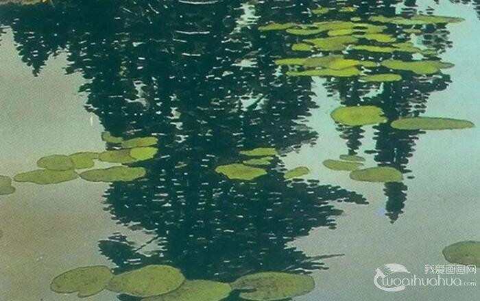 风景油画教程:树林的水中倒影影画绘画方法