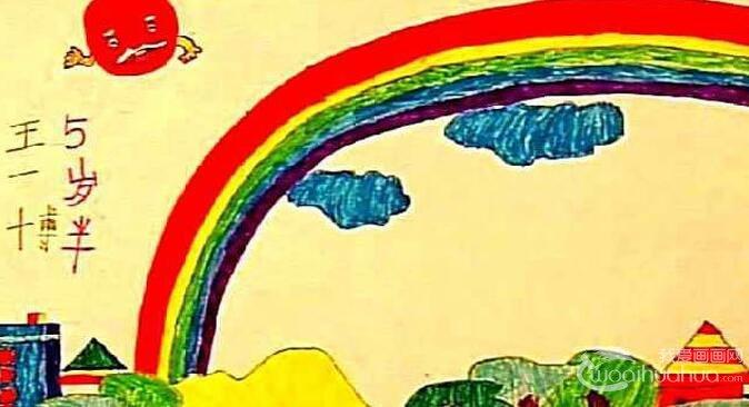 美丽的彩虹,儿童画彩虹的水粉画图片
