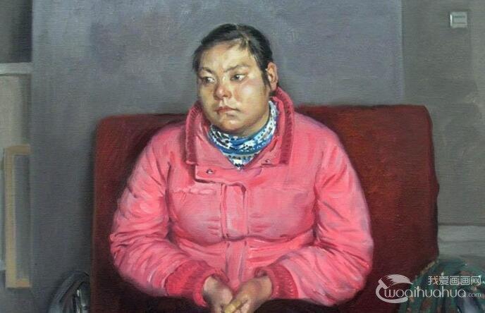 油画人物图片教程:坐在沙发上发呆的农村女人