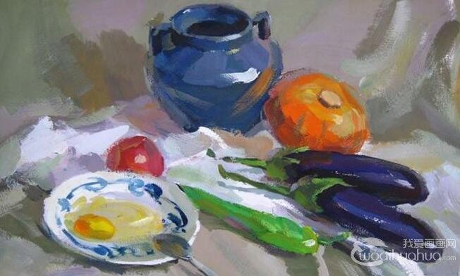 罐子茄子鸡蛋青椒蔬菜组合的静物水粉画教程