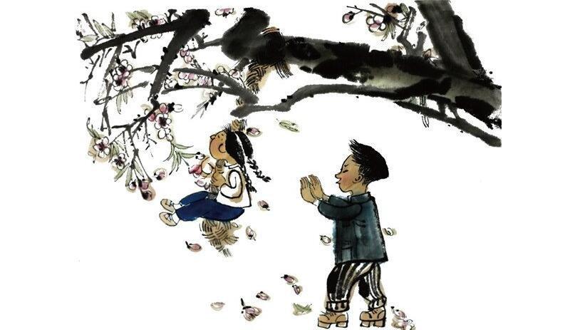 水墨小孩树上荡秋千的绘画教程