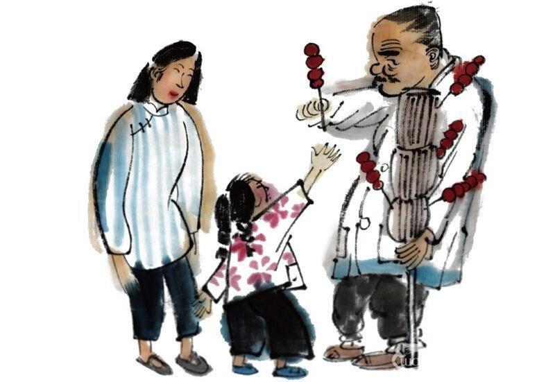 水墨小孩买冰糖葫芦的绘画步骤