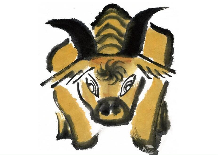 水墨十二生肖丑牛的绘画技法