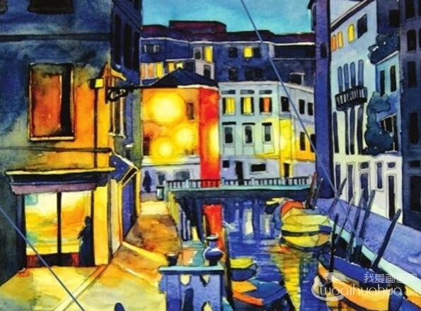 水彩威尼斯夜景绘画技法