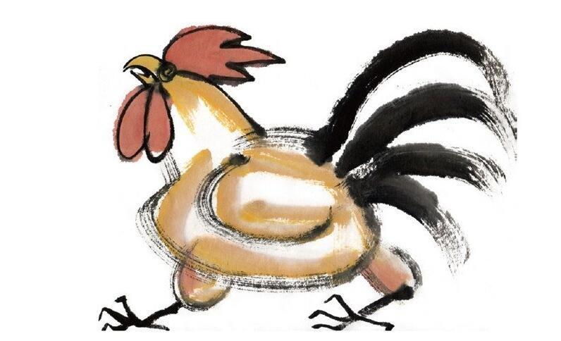 水墨十二生肖酉鸡的绘画技法