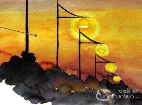水彩透视法傍晚的街灯绘画步骤