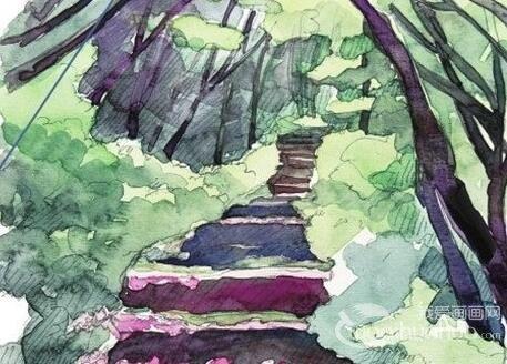 水彩小径的绘画步骤