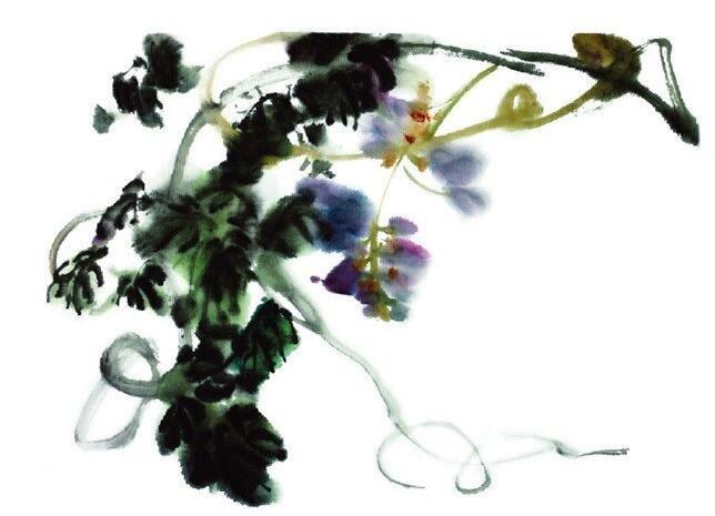 水墨紫藤的绘画步骤