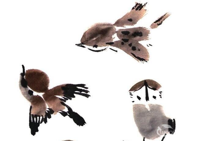 国画麻雀绘画技法