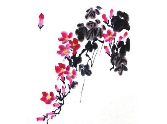 国画凌霄花的绘画步骤