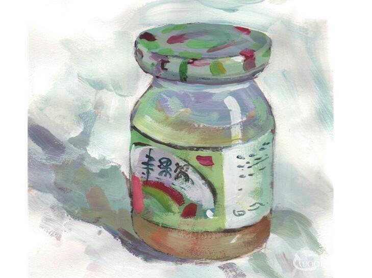 水粉果酱瓶的绘画技法