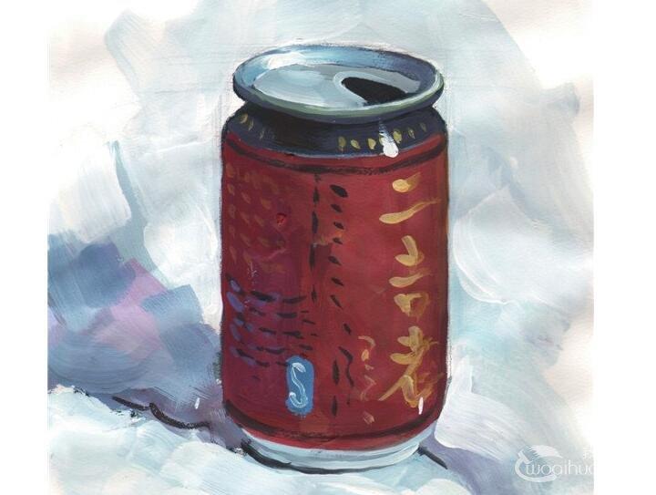 水粉易拉罐的绘画教程