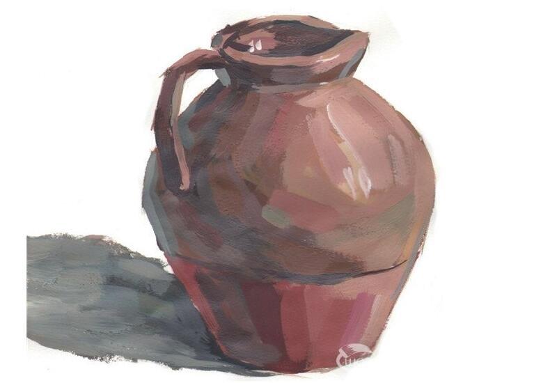 水粉褐色陶罐的绘画教程