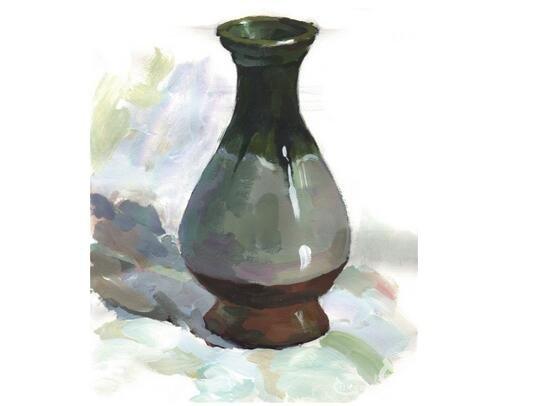 水粉绿色花瓶的绘画技法