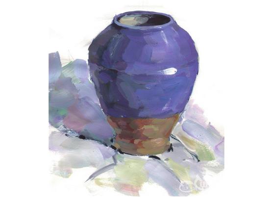 水粉紫色陶罐的绘画技法