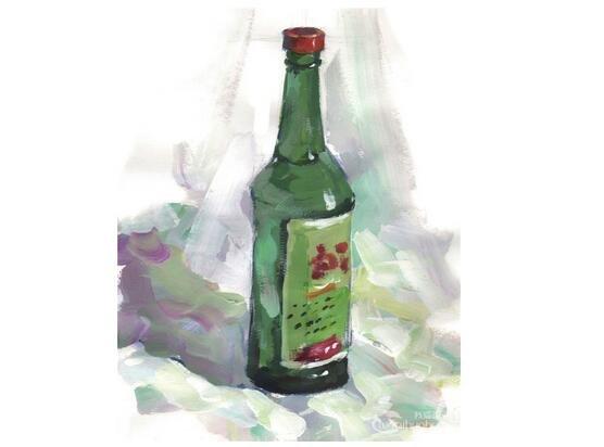 水粉酒瓶的绘画技法