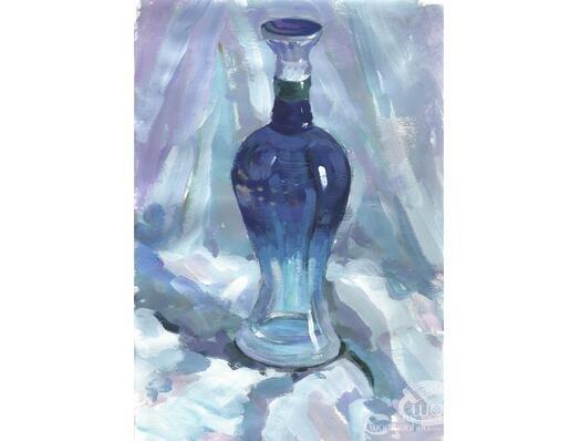 水粉蓝色酒瓶的绘画教程