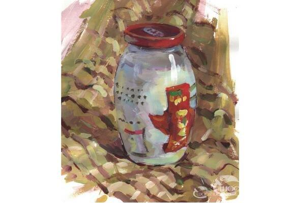 水粉玻璃瓶的绘画步骤