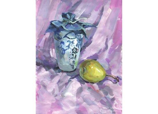 水粉酒瓶和梨的绘画教程