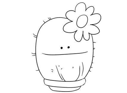 趣味简笔画盆栽仙人掌
