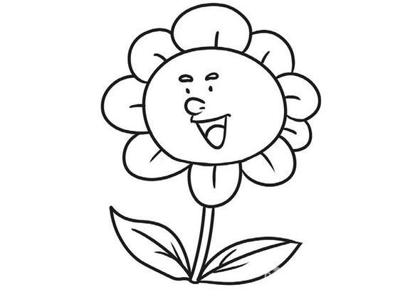 趣味简笔画开朗的向日葵
