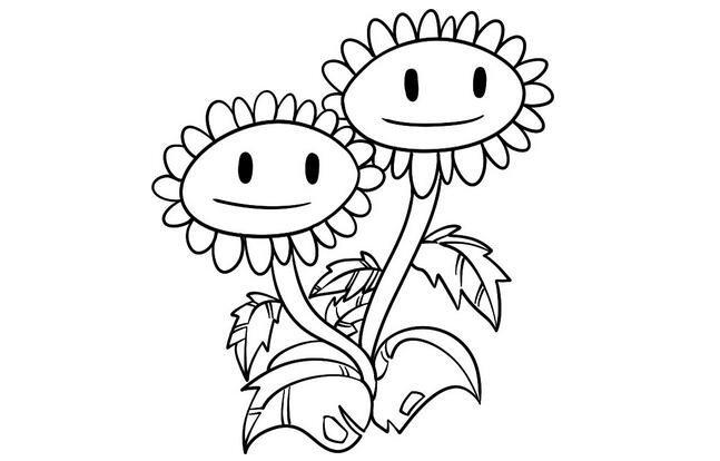 趣味简笔画向日葵姐妹花