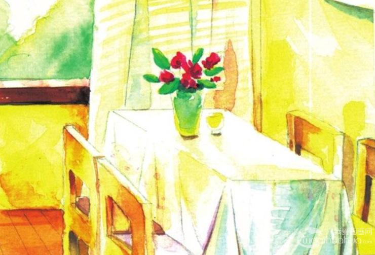 水彩室内场景的绘画技巧教程