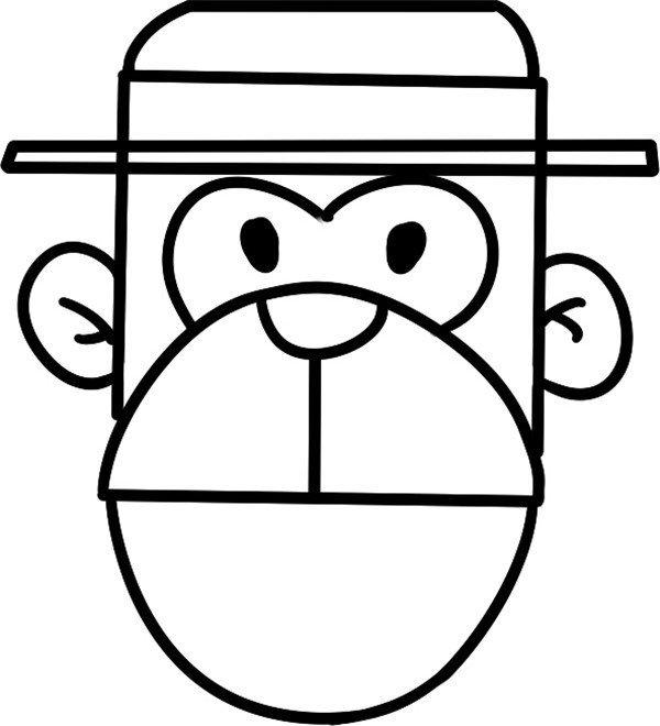 趣味简笔画:长脸的猴子绘画步骤