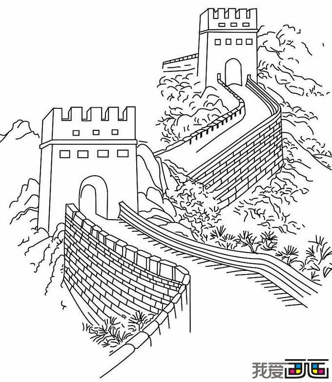 儿童简笔画:万里长城
