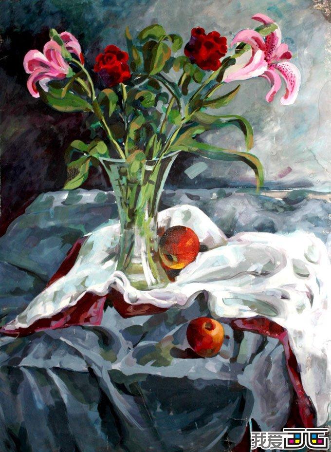 静物水粉画作品欣赏,色彩艳丽的水粉画图片作品