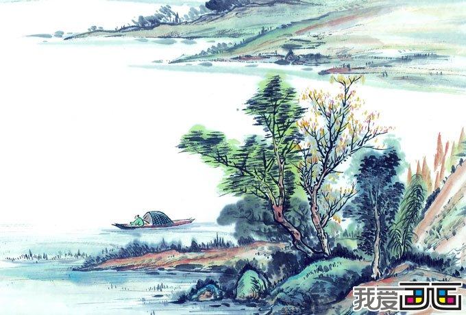 学习山水画先从画石头或树木基本练习画起,熟悉各种山石,树木,石质