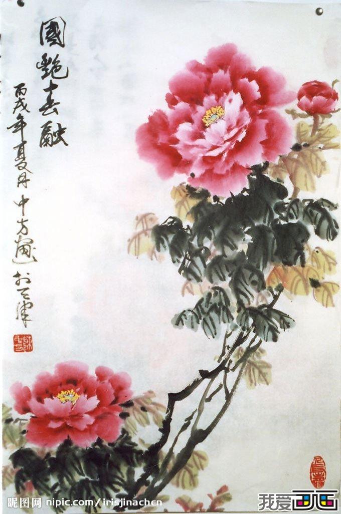 牡丹花国画 动物植物
