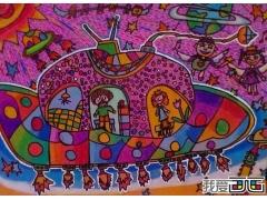 儿童卡通画作品欣赏:太空飞船