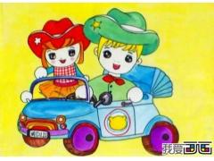 儿童卡通画作品:开汽车的小男孩小女孩