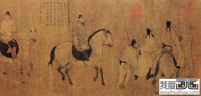 游骑图 唐代-中国画传世名作欣赏_中国名画_百科_我爱