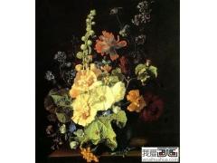 花瓶中的蜀葵-静物油画-世界名画欣赏图片