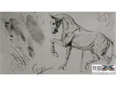 门采尔两副马的素描作品:咆哮的马 饮水的马