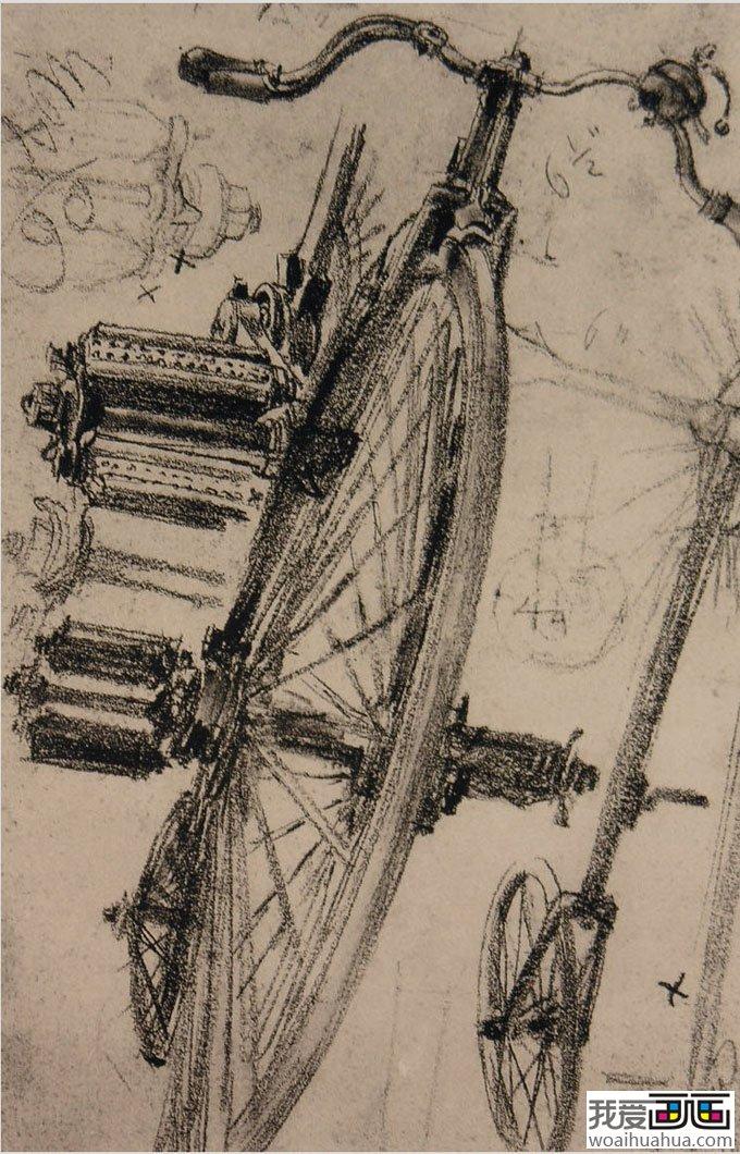 大师门采尔静物素描作品欣赏大全-《旧自行车》高清大图