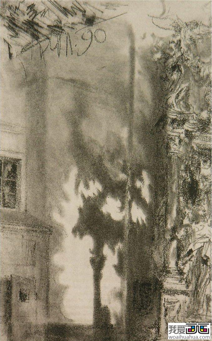 门采尔风景素描速写作品大全(上)-高清素描画图片(7)