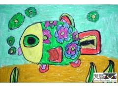 儿童水彩画:花花鱼