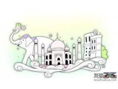 特色印度建筑 简笔画印度大象